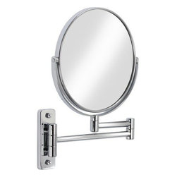 "Bath Boutique - Cosmo 8"" Vanity Mirror Chrome, 5x Magnifier - The attractive Cosmo 8 Mirror is made with high quality chrome plated steel. This wall mount mirror has a 14"" (36cm) folding arm that extends for convenience. It can swivel and is double sided with five times the magnification on one side."