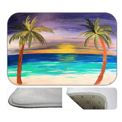 Night Palms Plush Bath Mat, 20X15 - Bath mats from my original art and designs. Super soft plush fabric with a non skid backing. Eco friendly water base dyes that will not fade or alter the texture of the fabric. Washable 100 % polyester and mold resistant. Great for the bath room or anywhere in the home. At 1/2 inch thick our mats are softer and more plush than the typical comfort mats.Your toes will love you.