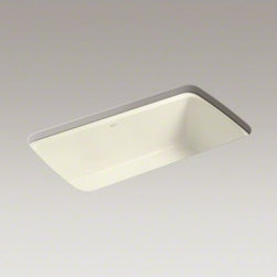 """KOHLER - KOHLER Cape Dory(R) 33"""" x 22"""" x 9-5/8"""" under-mount single-bowl kitchen sink with - The Cape Dory sink is a kitchen classic, with its generous single bowl that simplifies the task of washing large pots and pans. Crafted from enameled cast iron, this sink resists chipping, cracking, or burning for years of beauty and reliable performance."""