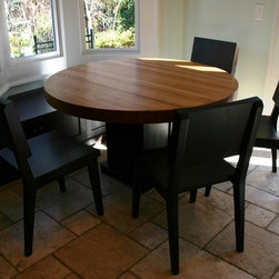 """54"""" Round dining table and chairs - 3' thick solid cherry dining table with walnut pedestal base.  set of 4 walnut chairs with hand-sculpted seat and back."""