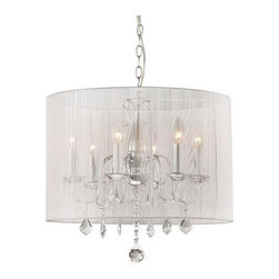 "WAREHOUSE OF TIFFANY - Gertrude Crystal Chandelier - This Gertrude Crystal Chandelier creates a glamorous sparkling pendant that complements your modern look. Made of Clear Crystal, stands 19""W x 20""H, uses 6 bulbx60 watts (not included) type E27, includes 40"" chain, made of metal, fabric in white color."
