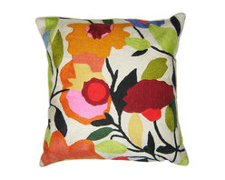 Kim Parker Inc. - Begonias With Insert - Clearly, you're not afraid of brights, or you wouldn't be admiring these bold begonias. By adding this pillow, you'll also bring depth and texture to your favorite setting — the kind that only comes from hand-embroidery in 100 percent wool.
