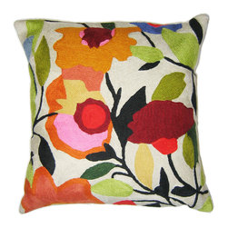 Kim Parker Inc. - Begonias Pillow With Insert - Clearly, you're not afraid of brights, or you wouldn't be admiring these bold begonias. By adding this pillow, you'll also bring depth and texture to your favorite setting — the kind that only comes from hand-embroidery in 100 percent wool.