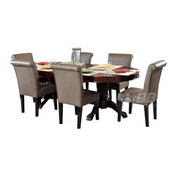 BBO Poker Tables - BBO Poker The Rockwell 7-Piece Poker Table Set - The Rockwell poker table is a gallery quality elegant furniture poker table that impresses even the most discerning players. Solid wood finish and customizable playing surface makes the Rockwell a personalized high end poker table. Ten, 4in cup holders which can accommodate wine (and whiskey) glasses sit flush in the gloss mahogany racetrack providing an upscale battlefield for 10 players. The Rockwell is finished with premium upholstery and professional foam and playing surface velveteen. Add a dining top or matching chair to turn this custom poker table into a dining set.
