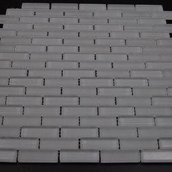 Crystal Series Super White Brick Pattern Frosted and Polished Mix - Sold by the sheet - SHEET SIZE : 12X12