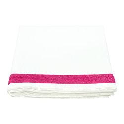 Mia + Finn - Eugenie Fuchsia King Flat Sheet - White with Fuchsia cotton lace along the top.