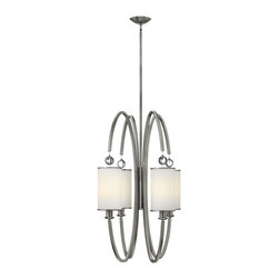Hinkley Lighting - Hinkley Lighting 4858BN Hinkley Lighting 4858BC Brushed Caramel 4 Light Indoor F - Hinkley Lighting 4858B Monaco 4 Light Chandelier Monaco features shaped arms that support metal-trimmed etched opal glass shades and are finished with