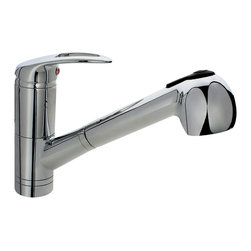"""MR Direct - MR Direct 708 Single Handle Pull-Out Kitchen Faucet - The 708 Single Handle Pull-Out Kitchen Faucet has a one or three-hole installation option and is available in a brushed nickel, oil-rubbed bronze or chrome finish. It contains a multi-function spray head with a 56"""" metal hose and is ADA approved. The dimensions for the 708 are 2"""" x 7 1/2"""" with an 8"""" spout reach. This faucet is pressure tested to ensure proper working conditions and is covered under a lifetime warranty. The 708 is sure to add functional style to any kitchen sink."""