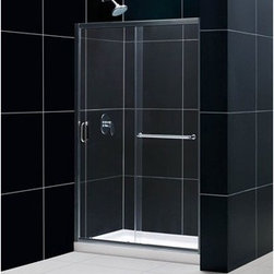 """Bath Authority DreamLine - Bath Authority DreamLine Infinity-Z Frameless Sliding Shower Door and SlimLine S - This kit combines the INFINITY-Z shower door with a coordinating SlimLine shower base, perfect for a bathroom renovation or tub-to-shower conversion project. The INFINITY-Z pairs a sliding shower door with a stationary glass panel to provide a comfortably wide shower entry. The stationary panel is fitted with a convenient towel bar that doubles as a handle. The SlimLine shower base completes the look with a low profile design for a sleek modern look. Choose this efficient and cost effective DreamLine(TM) shower kit to completely transform a shower space. Features Overall kit dimensions: 36""""D x 48""""W x 74-3/4""""H Infinity-Z Shower Door: 44 - 48"""" W x 72"""" H 1/4 (6 mm) Clear or frosted tempered glass Chrome or brushed nickel finish hardware Frameless glass design Width installation adjustability: 44 - 48 Out-of-plumb installation adjustability: Up to 1"""" per side Anodized aluminum profiles and guide rails Fashionable towel bar on the outside panel provides additional storage space Aluminum top and bottom guide rails may be shortened by cutting up to 4"""" Door opening: 15 - 19"""" Stationary panel: 21-1/2"""" Reversible for """"right"""" or """"left"""" door opening installation Material: Tempered Glass, Aluminum Tempered glass ANSI certified 36"""" x 48"""" Single Threshold Shower Base: High quality scratch and stain resistant acrylic Slip-resistant textured floor for safe showering Integrated tile flange for easy installation and waterproofing Fiberglass reinforcement for durability cUPC certified Drain not included Product Warranty: Shower Door: Limited 5 (five) manufacturer warranty Shower Base: Limited lifetime manufacturer warranty Installation Guide Technical Drawing for Shower Door Technical Drawing for Shower Base Center Drain Information regarding the return policy of your DreamLine(TM) product is available here. If you have any questions, please contact us before ordering."""