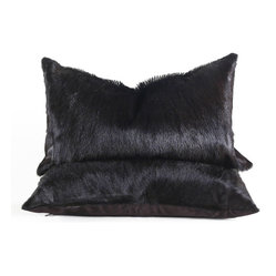 Black Springbok Hide Throw Pillow
