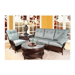 Boca Rattan - Bali 4 Pc Rattan Sofa Set in Coffee Bean (641 - Fabric: 641Set includes sofa, chair, end table and coffee table. Table glass top and cushions included. Indoor use only. Bevel glass table top. Leather binding. Constructed from strong and durable rattan. Sofa: 33 in. L x 80 in. W x 38 in. H (125 lbs.). Chair: 33 in. W x 32 in. D x 38 in. H (60 lbs.). Coffee table: 34 in. W x 34 in. D x 18 in. H (40 lbs.), Glass top: 36 in. Dia.. End table: 22 in. Dia. x 24.5 in. H (35 lbs.), Glass top: 24 in. Dia.