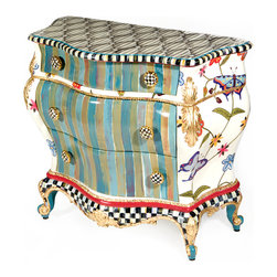 Butterfly Large Chest | MacKenzie-Childs - Exuberantly hand-painted with bursts of colorful stripes and a crewel-inspired pattern of butterflies and spring flowers. The Butterfly Large Chest is hand decorated with gold leaf, Courtly Check®, and Courtly Stripe accents. The top is hand-painted to resemble black and white ticking fabric. Includes Courtly Check® ceramic drawer pulls and hand-painted cabriole legs.