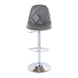 Zuri Furniture - Slate Romy Swivel Armless Bar Stool - Rochelle's sister is born! All the same amazing features as the best selling Rochelle, Romy aids a little flair with her diamond pattern and chrome base.