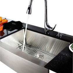 "Kraus - Kraus KHF200-30-KPF1621-KSD30CH 30"" Farmhouse Single Bowl Stainless Steel Sink - Add an elegant touch to your kitchen with unique Kraus kitchen combo"