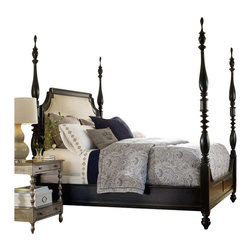 Hooker Furniture - Hooker Furniture Estate Upholstered Poster Bed in Black - Hooker Furniture - Beds - 516990666 - Throughout the years antiques have been one of the greatest sources of furniture inspiration offering character timelessness and enduring appeal.