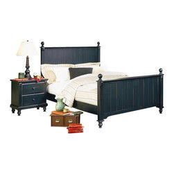 Homelegance - Homelegance Pottery Panel Bed 3 Piece Bedroom Set in Black - Homelegance - Bedroom Sets - 875B3PcBedroomPKG - Homelegance Pottery Panel Bed in Black Finish (included quantity: 1) The Pottery Panel Bed incorporates time-tested country sensibilities to present itself as a more rustic fixture for a similarly-themed bedroom.  Distinguished by matching slat-detailed head and footboard, bedpost finials and matching bun feet, beds like these will always have a widespread appeal amongst folks who see home as where the heart is.  A black finish completes the look and appeal of the Pottery Black Panel Bed.  Features: