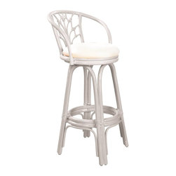 Hospitality Rattan - Hospitality Rattan Valencia Rattan & Wicker Whitewash Swivel Bar Height Stool - Add some elegance and sophistication to your home bar with The Valencia Counter stool. This traditional wicker and rattan swivel barstool is built with solid rattan pole construction. The Valencia Collection offers three basic finishes Antique Natural and Whitewash. The counter stools feature commercial grade reinforced rattan bases swivel mechanisms & reinforced double pole footrests. The stool will come with instructions and requires assembly. This counter stool comes with a comfortable beige cushion as shown. For an upcharge you can choose from your choice of over 35 indoor fabrics with a variety of colors and patterns to match your decor. The Valencia Counter stool is a gorgeous addition to any home. Since 2000 Hospitality Rattan has been designing and distributing contract quality rattan wicker and bamboo furnishings. A variety of indoor and outdoor collections derived from the best possible materials is available for the furniture buyer who wants that tropical feel. Features include Includes cushion with fabric as shown Swivel Mechanism Included Constructed of commercial quality rattan poles Requires Some Assembly (Instructions Included). Specifications Finish: Whitewash Material Type: Rattan Poles & Woven Wicker.