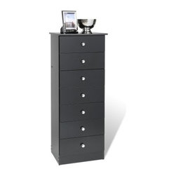 """Edenvale 7 Drawer Lingerie Chest - Black - The tall slender form of the Edenvale 7 Drawer Lingerie Chest – Black adds as much style as it does function to a room. Crafted from composite wood with a smooth black laminate exterior this chest offers up seven deep drawers that each have a chrome-finished knob and move on smooth metal guides with safety-stops. The sides of each chest are built using solid hardwoods that are finished with a natural lacquer. This chest also includes a tipping restraint for added safety. About Prepac ManufacturingPrepac is a successful designer and manufacturer of functional and stylish RTA (ready to assemble) home furniture. They have been manufacturing state-of-the-art home furnishings and storage products in the heart of the forest-rich West Coast since 1979. To ensure that customers receive the highest quality products Prepac's design engineering production testing and packaging are all performed in-house. Each component of every product is carefully engineered to be produced with minimal handling without compromising quality function and value. Prepac's state-of-the-art materials management system tracks every component from cutting through to packaged goods inventory support and fulfillment to final delivery. Most of Prepac's RTA products are made from a combination of """"""""engineered woods."""""""" Engineered Wood is a mixture of high quality hard and soft wood materials which generally come from the surplus of original lumber processing. These materials are bonded together with a synthetic resin in a process under high heat and pressure to make a very stable environmentally friendly product. The result is dense strong panels which are then laminated with durable attractive finishes."""