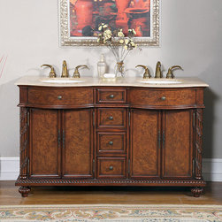Silkroad Exclusive - Silkroad Exclusive Travertine Stone Top 60-inch Double Sink Cabinet Bathroom Van - This charming Early American Style bathroom vanity features contrasting colors giving it a knotty cherry wood appearance. Fearturing a solid travertine countertop,this double-sink vanity offers classical carving on the legs.