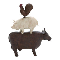 Benzara - American Farm Art Statue Trio of Cow Pig Rooster Brown Shades Decor 44717 - Traditional American farm art polystone statue features trio of cow pig and rooster in brown shades display Decor