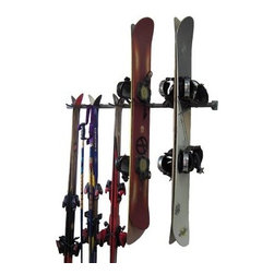 Monkey Bar Storage Ski and Snowboard Rack - About Monkey Bars Storage Although the name might lead you to think otherwise, Monkey Bars Storage doesn't play around. These highly efficient and incredibly tough garage storage solutions are built to last forever, maximizing the space where you store your gear. With the highly adaptable Monkey Bar and a wide variety of accompanying hooks and racks, they've designed a system that fits every kind of enthusiast and professional whose passion requires a lot of equipment. Organize your garage, workroom, storage facility, and more. It's easy - just get on the Monkey Bars.
