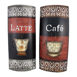 Zeckos - Decorative Cafe and Latte Rounded Metal Wall Plaques - This pair of wall plaques adds a fun accent to any wall in your home, restaurant, or cafe. Made of metal, each measures 22 3/4 inches tall, 10 inches wide, 2 1/4 inches deep and features an open scrollwork design, complemented by a steaming cup of coffee sculpture. They easily mount to the wall with a single nail and look great side by side, staggered, or any way you choose to display them. This set makes a great gift for the coffee lover in your life, and is sure to be admired.