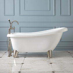 """Alden Acrylic Slipper Tub - Modern Feet - With its gentle, sloping backrest, the Alden Acrylic Slipper Footed Tub is perfect for a relaxing bubble bath after a hard day. This freestanding tub can be paired with a wall-mounted or tall tub filler. deck and is offered drilled with 7"""" rim holes or less holes for a wall-mounted or freestanding faucet of your choice."""