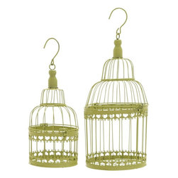 Benzara - Bird Cage with Great Durability and Long Lasting - Set of 2 - Get this pretty and delicate bird cage and make your bird feel loved and cared. This well-built cage will give your birds a lovely home. Place your best friend in this cage and make them feel comfortable and at home. The cage has a top-open mechanism and gives ample of space for your bird to feel free and move around. It comes with a metal hook making it easy to carry from one room to another and also, to hang it in the balcony or your room. This modern & urban looking bird cage is made from superior quality metal. It is easy to maintain and is designed with cute cut-out border design at the base and top-middle. Crafted by master artists, this lovely bird cage is made from high quality metal which ensures a sturdy and long lasting construction.