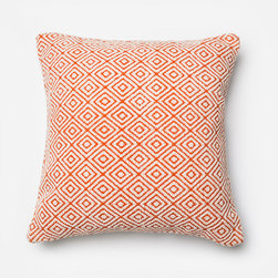 Frontgate - Modern Maze Throw Pillow - Woven wool pattern on front. Cotton-cover backside. Zipper closure. Feather/down insert. The Honeycomb Wool Pillow is a beautiful accent piece to add to any room in your home. The square pillow features a refreshing cream and orange color palette and a diamond-shaped geometric pattern. Filled with a soft feather and down insert, this patterned pillow is a chic and stylish accent to any sofa, chaise or bed.  .  .  .  .