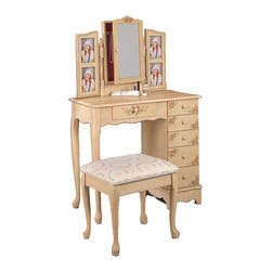 """Adarn Inc. - Warm Ivory Make Up Vanity Set Traditional Cottage Hand Painting Floral 6 Drawers - This beautiful vanity set has a traditional look, with a warm cottage charm. This vanity features a generous top surface for all of your essentials, and a center drawer to store frequently used items. Five more drawers along the side offer plenty of additional storage for make-up and hair care products. With a light Ivory finish, this piece is radiant. Pretty shaped aprons, simple wooden knobs, and elegant cabriole legs create a warm look. The mirror above this vanity will reflect light in your room, and help you prepare for your day. It opens up to reveal jewelry storage, flanked by photo frames on each side to add your own personal touch to the piece. A hand painted floral motif throughout this vanity adds to the charming cottage style. The matching stool completes this set, with a soft neutral fabric covered seat and simple cabriole legs. Create a serene dressing area in your master bedroom with this lovely cottage style vanity set. Vanity: 32""""W x 16""""d x 50.5""""H, Stool: 18""""W x 14.5""""D x 17""""H"""