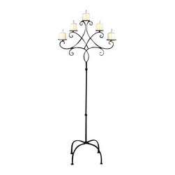 "Home Essentials - Wedding Black Iron Tall Floor Candelabra - A contemporary take on a timeless Classic, this Black Iron Tall Floor Candelabra is great for weddings, churches or any event. It will give the room a warm glow, making everyone feel more welcome!                                       * Durable metal construction                                       * Dimensions: 60 x 20 x 5""                 * Holds 5 candles"