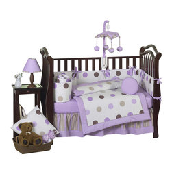 Sweet Jojo Designs - Purple Mod Dots 9-Piece Crib Bedding Set - The Sweet Jojo Designs Purple and Chocolate Mod Dots 9 piece. crib bedding set has all that your little one will need. This modern baby bedding set uses exclusive Jojo Designer coordinating 100% cotton prints. The 3 prints are made in a color palette of soft purple, lavender, cocoa brown, white and chocolate. They include large dots, bold stripes, and mini dots prints. This set will create a stylish room that your little one is sure to enjoy.