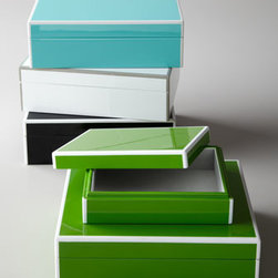 "Swing Design - Swing Design ""Elle"" Storage Box Set - Elegantly handcrafted in limited quantities by master artisans, these luxurious keepsake boxes feature two-tone detailing, a high-gloss lacquer finish, and velvety soft interiors. The set of two allows plenty of room for all of your valuables. Lacquer...."