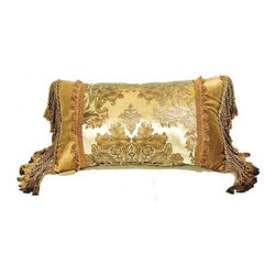 """CCCC-P-243 - Venetia Velvet Gold Damask Pattern Print 14"""" x 22"""" Throw Pillow - Venezia velvet gold damask pattern print 14"""" x 22"""" throw pillow with bullion tassel ends. Measures 14"""" x 22"""" made with a blown in foam and also available with feather down inserts at additional costs, search for down insert upgrade to add the up charge to your order. These are custom made in the U.S.A and take 4- 6 weeks lead time for production."""