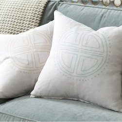 Ballard Designs - Bria Medallion Linen Pillow with Insert - Plush feather down insert. Hidden zipper. Layering in geometric patterns can dial up the visual energy in any room. Our Bria Pillow is sewn of neutral 100% natural linen and screen printed with a dot-and-cross medallion motif that feels tribal and modern at the same time. Bria Medallion Linen Pillow features: . .