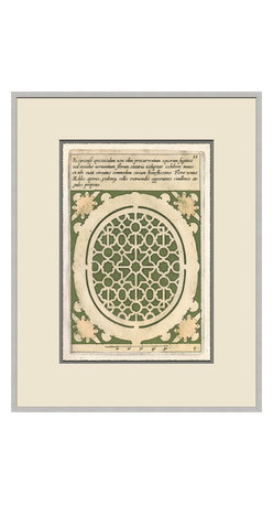 Soicher-Marin - Garden Plan A, Green - Giclee print with a silver  contemporary wood frame with off white mat insert.  Includes glass, eyes and wire.  Made in the USA. Wipe down with damp cloth