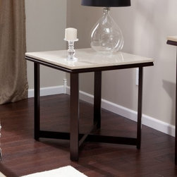 Avorio Square End Table - The Avorio Square End Table makes a charming companion to any leather or modern-style furniture you have. Its sturdy frame is made from plywood, which is resistant to cracking, shrinkage, splitting, and warping, and features a slim, open look complemented by a delicious espresso finish. The unique top has an ivory-colored tiled appearance made from a faux travertine that's just as beautiful as the real thing at a fraction of the cost. This charming contemporary style piece pairs well with other modern or darker colored pieces. Some assembly required.