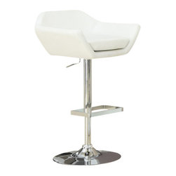 Monarch Specialties - Monarch Specialties 2308 Hydraulic Lift Barstool in White and Chrome (Set of 2) - The contemporary design of this 2 piece white bar stool set is no doubt chic, thanks to sleek leather-look upholstery. Their unique symmetrically shaped, bucket seat style are lightly cushioned for your comfort. The sturdy frame and convenient square shaped foot rest are finished in an ever so fashionable chromed metal finish. A full-swivel mechanism and easy-to-use hydraulic lift system will take you to stylish and comfortable dining.