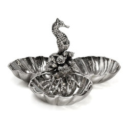 Star Home - Star Home Coquilles Three Section Server - 40991 - Shop for Plates and Dishes from Hayneedle.com! Add a touch of the ocean to your table decor with the stylish Star Home Coquilles Three Section Server. The durable nickel-plated cast aluminum construction features a stunning sea horse figure and sea-life patterns between three shell bowls. Stylish and versatile this server is a must-have accessory for any occasion.