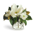 Winward Designs - Magnolia In Footed Glass White Flower Arrangement - Timeless magnolias are the grand dames of the flower world. Ours  in bright white  lend an enduring beauty to any room.