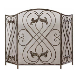 Uttermost - Uttermost 20960 Effie Metal Fireplace Screen - Uttermost 20960 Effie Metal Fireplace Screen