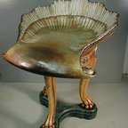 """Grotto Chair with Antiqued Silver Leaf, Louis XV-Style - Antiqued silver leaf """"grotto"""" chair reproduction. Hand painted"""