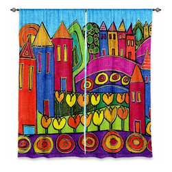 """DiaNoche Designs - Window Curtains Lined by Dora Ficher Spring - Purchasing window curtains just got easier and better! Create a designer look to any of your living spaces with our decorative and unique """"Lined Window Curtains."""" Perfect for the living room, dining room or bedroom, these artistic curtains are an easy and inexpensive way to add color and style when decorating your home.  This is a woven poly material that filters outside light and creates a privacy barrier.  Each package includes two easy-to-hang, 3 inch diameter pole-pocket curtain panels.  The width listed is the total measurement of the two panels.  Curtain rod sold separately. Easy care, machine wash cold, tumble dry low, iron low if needed.  Printed in the USA."""