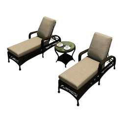 Forever Patio - Catalina 3 Piece Patio Chaise Lounge Set, Sable Wicker, Mushroom Cushions - The 3 Piece Catalina Chaise Lounge Set with Beige Sunbrella® Cushions (SKU FP-CAT-3CLS-SB-MS) will turn your patio into a haven of relaxation and traditional style with its adjustable back and braided wicker design. This set features Sable wicker with a full round design that creates a complex and luxurious look. Every strand of this wicker is made from High-Density Polyethylene (HDPE) and is infused with its natural color and UV-inhibitors that prevent cracking, chipping and fading ordinarily caused by sunlight. The set is supported by a thick-gauged, powder-coated aluminum frame that makes it extremely durable and resistant to corrosion. Also included are cushions covered in fade- and mildew-resistant Sunbrella® fabric. Find time to escape the hustle and bustle with this wonderfully designed rocking chat set. You will love taking in the sun and unwinding with these wonderfully designed lounges and the accompanying functional table.