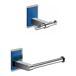 Gedy - Blue And Chrome Toilet Roll Holder And Robe Hook Accessory Set - .