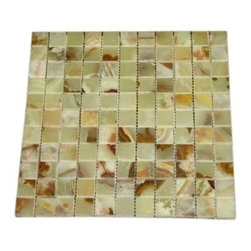 Light Green Polished Square Pattern Mesh-Mounted Onyx Tiles - 1 in. x 1 in. Light Green Mesh-Mounted Square Pattern Onyx Mosaic Tile is a great way to enhance your decor with a traditional aesthetic touch. This polished mosaic tile is constructed from durable, impervious onyx material, comes in a smooth, unglazed finish and is suitable for installation on floors, walls and countertops in commercial and residential spaces such as bathrooms and kitchens.