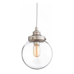 """Arteriors - Arteriors Home - Reeves Small Nickel Pendant - 49911 - Blown clear glass orb pendant topped with polished nickel hardware. Features: Reeves Collection Pendant Polished Nickel Some Assembly Required. Dimensions: H 11"""" x 8"""" Dia"""