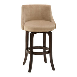 Hillsdale Furniture - Hillsdale Napa Valley Swivel 25 Inch Counter Height Stool in Khaki - Hillsdale Furniture's Napa Valley swivel stools are the essence of transitional design with sturdy tapered legs and fully-upholstered barrel style back. Constructed of solid wood with veneer and finished in a rich dark brown cherry, the Napa Valley is available in your choice of 4 fabrics. These handsome stools coordinate with most decors, are available in either bar or counter heights and swivel 360 degrees. A perfect addition to your bar, den or kitchen area.