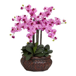 """Nearly Natural - Large Phalaenopsis Silk Flower Arrangement - A distinctive presence in any room. An abundance of cheerful blooms. Will put a smile on the most serious of faces. Construction Material: Polyester material, plastic, Iron, Wood, PVC Leather. 26 in. W x 26 in. D x 30 in. H ( 5 lbs. ). Pot Size: 17 in. W x 7.5 in.HThere is no escaping the distinctive presence of this Phalaenopsis Arrangement when walking into a room!  Standing at an impressive 32"""" tall in its beautiful planter, these cheerful blooms, with their even brighter centers, can't help but put a smile on even the most serious of faces.  A wonderful gift to share, or to keep one for yourself, this is one plant that will be a can't-miss!"""