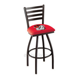 """Holland Bar Stool - Holland Bar Stool L014 - Black Wrinkle Georgia Swivel Bar Stool - L014 - Black Wrinkle Georgi Swivel Bar Stool w/ Ladder Style Back belongs to College Collection by Holland Bar Stool Made for the ultimate sports fan, impress your buddies with this knockout from Holland Bar Stool. This contemporary L014 Georgia """"Bulldog"""" stool carries a defined Ladder-style-back that doesn't just add comfort, but sophistication. Holland Bar Stool uses a detailed screen print process that applies specially formulated epoxy-vinyl ink in numerous stages to produce a sharp, crisp, clear image of your desired logo. You can't find a higher quality logo stool on the market. The plating grade steel used to build the frame is commercial quality, so it will withstand the abuse of the rowdiest of friends for years to come. The structure is powder-coated black wrinkle to ensure a rich, sleek, long lasting finish. Construction of this framework is built tough, utilizing solid welds. If you're going to finish your bar or game room, do it right- with a Holland Bar Stool. Barstool (1)"""